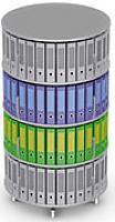 Вращающийся стеллаж для папок Moll MultiFile диаметр 80 см, 4 этажа